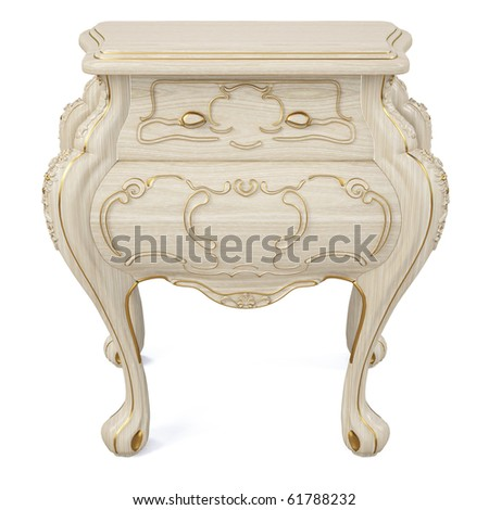 beautiful classic nightstand. isolated on white. - stock photo