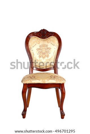 Beautiful classic wooden chair isolated on white background