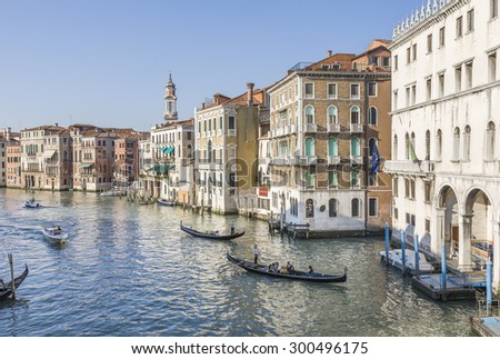 Beautiful classical buildings on the Grand Canal, Venice, Italy - stock photo