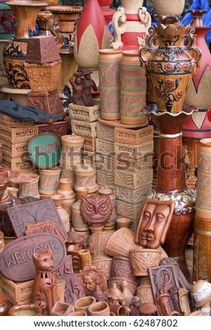 Beautiful clay handmade showpieces in a road-side souvenir shop in Dhaka, Bangladesh - stock photo