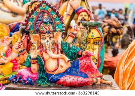 Beautiful clay model of Hindu god Lord Ganesha - stock photo