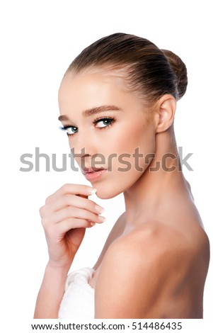 Beautiful clean face of woman from side, aesthetics exfoliating skincare concept, on white.
