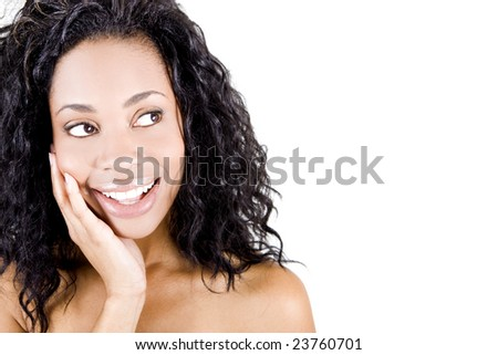 Beautiful clean faced african american woman - stock photo
