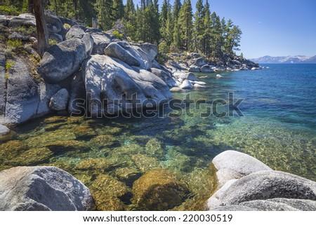 Beautiful Clear Water Shoreline of Lake Tahoe. - stock photo