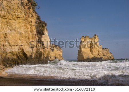 Beautiful cliff`s and rocks at the beach by Lagos Algarve Portugal October 2016