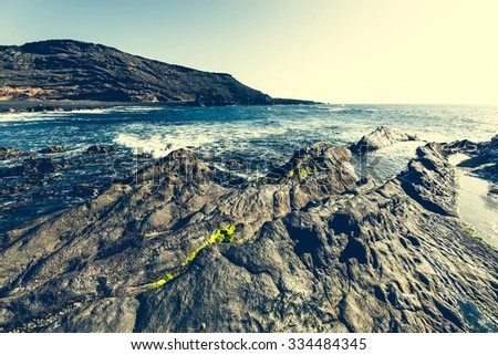 beautiful cliffs on the coast - stock photo