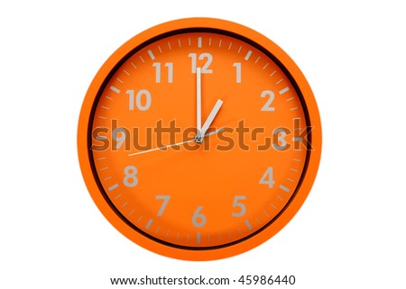 beautiful clock on the wall (01h; 13h) - stock photo