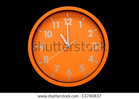 beautiful clock on the wall, (11h, 23h) - stock photo