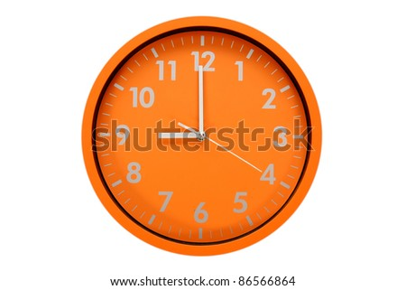 beautiful clock on the wall, 9 pm, 9 am - stock photo
