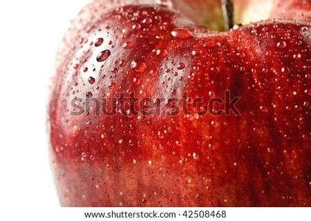 beautiful close up apple with drops