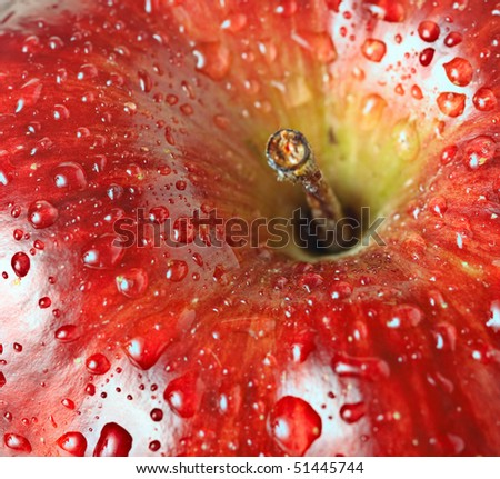 beautiful close up apple with drops - stock photo