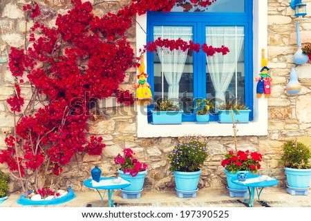 Beautiful close up of a traditional mediterranean house. - stock photo