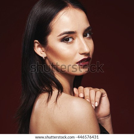 Beautiful close-up portrait of fashion woman model with glamour classic makeup, red lipstick, bright nail polish. Evening style, retro visage and manicure - stock photo