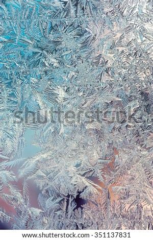 Beautiful Closeup Winter Colorful Background With Icy Frost Patterns
