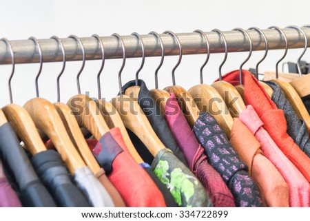 Beautiful Clothes in shopping store - stock photo