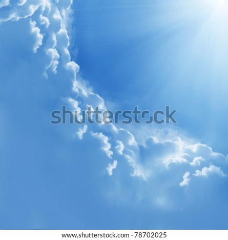 beautiful clouds and sun - stock photo