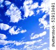 beautiful clouds in blue sky - stock photo