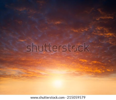 Beautiful clouds on a background of a sunset