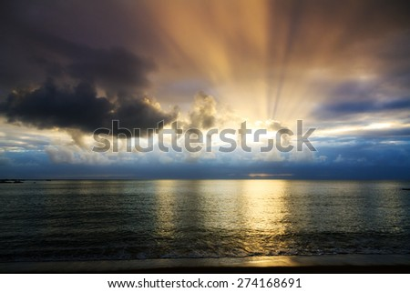 Beautiful cloudscape and sunset at the beach of Masoala national park, Madagascar - stock photo