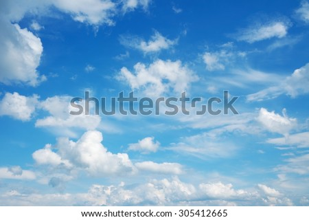 Beautiful cloudscape over horizon. Blue sky and clouds - stock photo