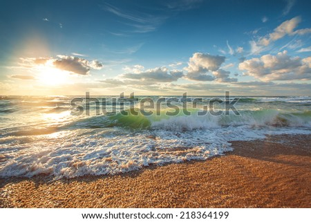 Beautiful cloudscape over the sea, sunrise shot - stock photo