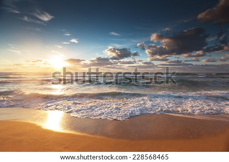 Beautiful cloudscape over the sea, sunset shot - stock photo