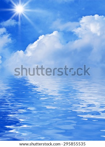 beautiful cloudscape over the water - stock photo