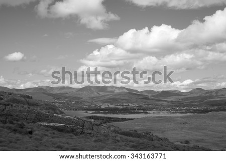 beautiful cloudy mountain view from the kerry way walk in ireland - stock photo