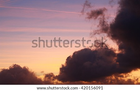 Beautiful cloudy sky at sunset
