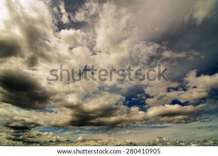 Beautiful cloudy sky background, peaceful cloudscape, hi contrast - stock photo