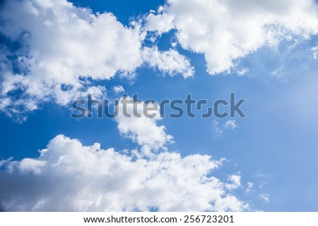 Beautiful cloudy sky background, sunny day, abstract natural backdrop, fresh air, peaceful cloudscape - stock photo