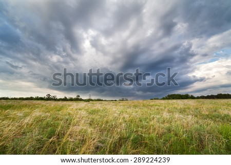 Beautiful cloudy sunset at the field. Summer landscape.