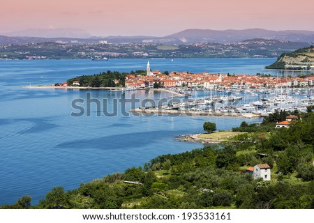 Beautiful coast town Izola - Slovenia from above - stock photo