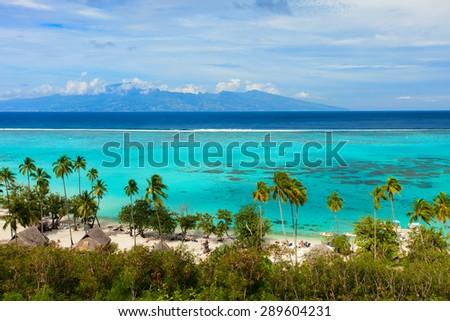 Beautiful coastal landscape of Moorea island in French Polynesia - stock photo