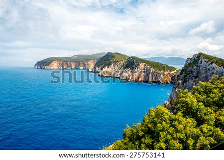 Beautiful coastline at Lefkada island in Greece. Top view, general plan - stock photo