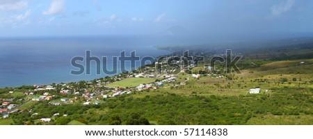 Beautiful coastline of St Kitts from Brimstone Hill. - stock photo