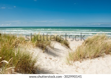 Beautiful coastline of Tversted in Denmark at summer - stock photo