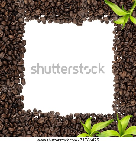 Beautiful coffee frame with leaves - stock photo