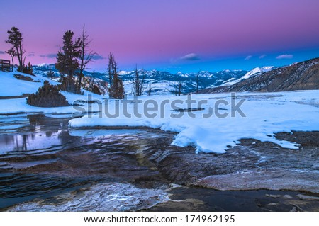 Beautiful Cold Winter Sunset in Yellowstone - stock photo