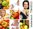 Beautiful collage about dieting, healthy eating and health care - stock photo