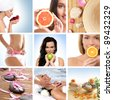 Beautiful collage about health, sport and dieting - stock photo