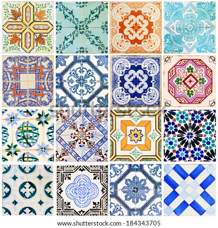 Beautiful collage of all kind of different tiles of the houses of Lisbon, Portugal - stock photo