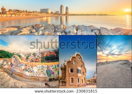 Beautiful Collage of famous city Barcelona. Catalonia. Spain - stock photo
