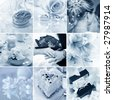 Beautiful collage of nine wedding motives in blue tone - stock photo