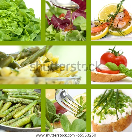 Beautiful collage of summer food with healthy products - stock photo