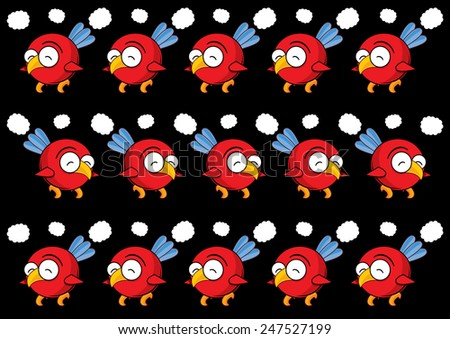 Beautiful collection of colorful birds isolated on dark background, Seamless  pattern, repeatable pattern - stock photo
