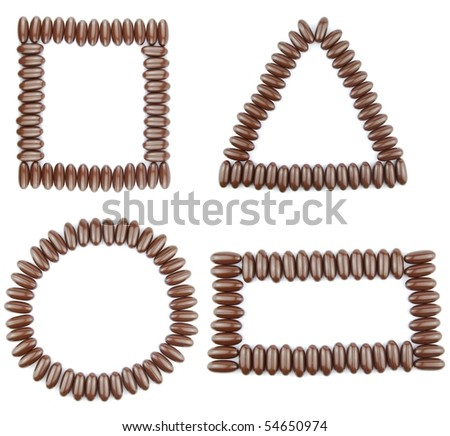 beautiful collection of 4 geometric shapes (square, triangle, circle, rectangle) with chocolate candies (isolated on white background) - stock photo