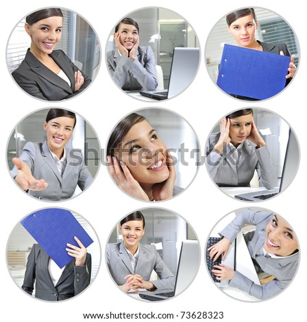 Beautiful collection of young pretty businesswoman in different situations at her work - stock photo