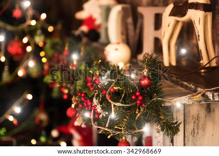 beautiful color christmas interior decorations  with  christmas tree - stock photo