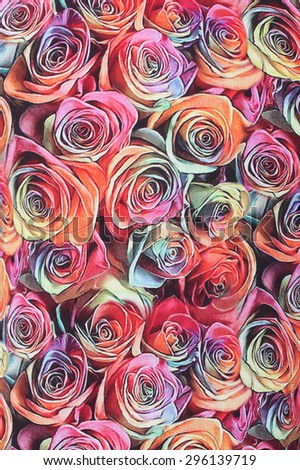 beautiful color roses floral ornament textile background - stock photo